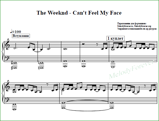 ноты для фортепиано The Weeknd - Cant Feel My Face